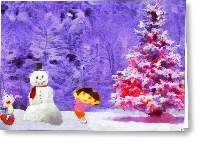 Christmas And Dora Greeting Card by George Rossidis