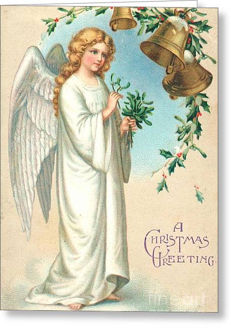 Sentimental Greeting Cards - Christmas Angel Greeting Card by English School