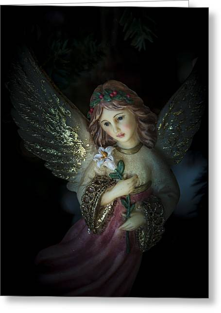 Night Angel Greeting Cards - Christmas Angel Greeting Card by Fred Adsit