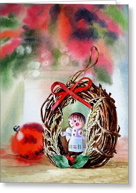 Christmas Angel Greeting Card by Irina Sztukowski
