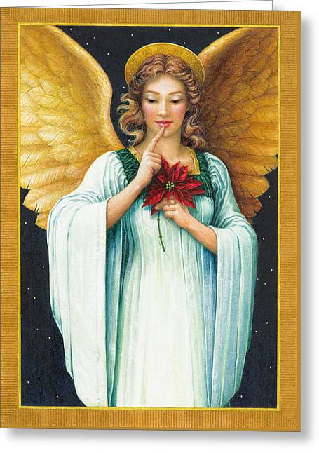 Poinsettias Greeting Cards - Christmas Angel Greeting Card by Lynn Bywaters