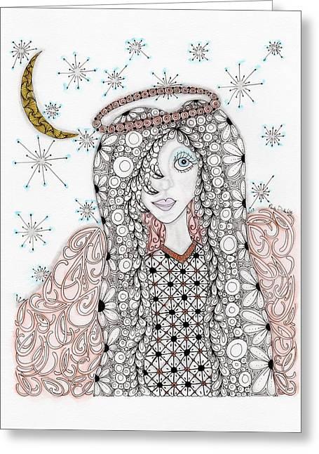Christmas Angel Greeting Card by Paula Dickerhoff