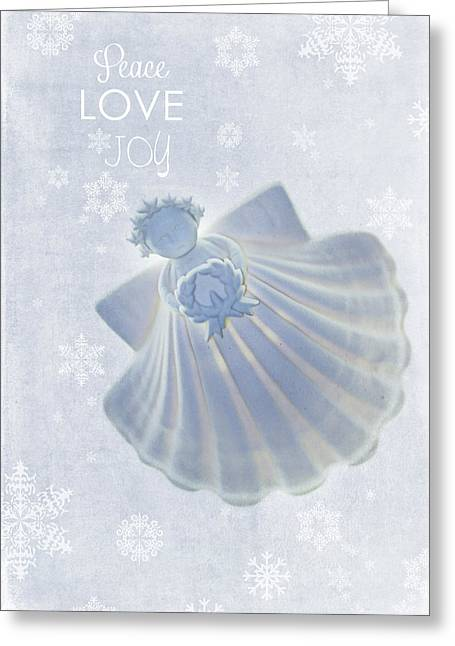 Angel Blues Greeting Cards - Christmas Angel Greeting Card by Rebecca Cozart