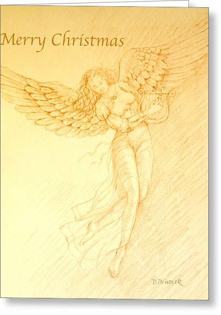Seraphim Angel Greeting Cards - Angel with Harp Greeting Card by Deborah Dendler