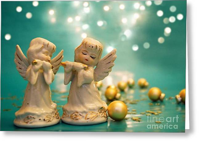 Playing Cards Greeting Cards - Christmas Angels 1 Greeting Card by Katerina Vodrazkova
