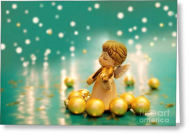 Turquoise Violin Greeting Cards - Christmas Angels 2 Greeting Card by Katerina Vodrazkova