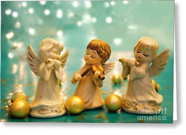 Turquoise Violin Greeting Cards - Christmas Angels 3 Greeting Card by Katerina Vodrazkova