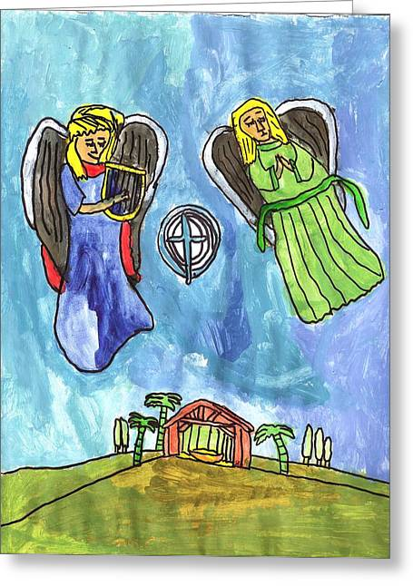 Brandon Drucker Greeting Cards - Christmas Angels Greeting Card by Brandon Drucker