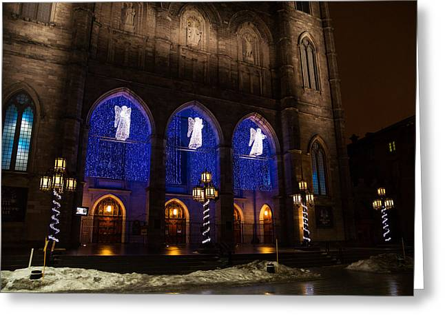 Angel Blues Greeting Cards - Christmas Angels - Notre-Dame de Montreal Basilica Greeting Card by Georgia Mizuleva