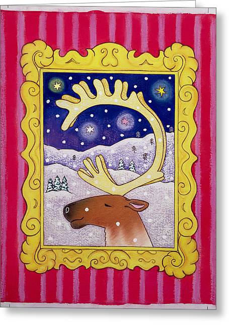 Picture Frame Greeting Cards - Christmas Antlers, 1996 Pastel And Gouache On Paper Greeting Card by Cathy Baxter