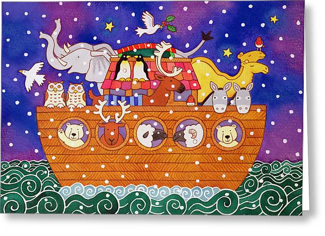 Testament Greeting Cards - Christmas Ark, 1999 Wc And Pastel On Paper Greeting Card by Cathy Baxter