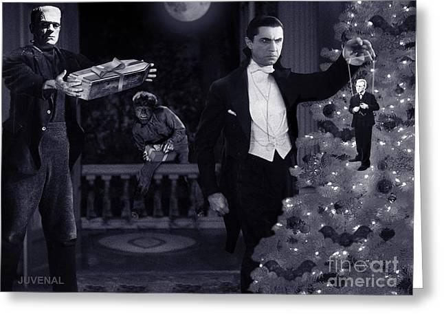 Count Dracula Greeting Cards - Christmas at Draculas Greeting Card by Joseph Juvenal