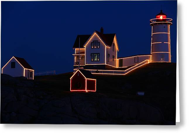 York Beach Greeting Cards - Christmas at Nubble Greeting Card by Andrea Galiffi