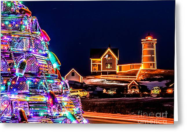 Cape Neddick Lighthouse Greeting Cards - Christmas At Nubble Light Greeting Card by Scott Moore
