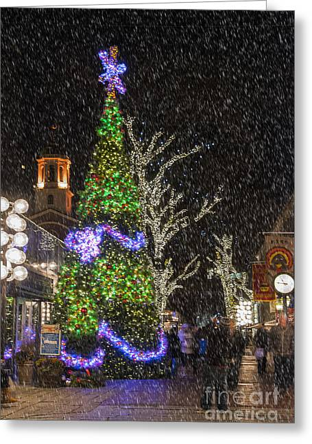 Yuletide Greeting Cards - Christmas at Quincy Market Boston Greeting Card by Juli Scalzi