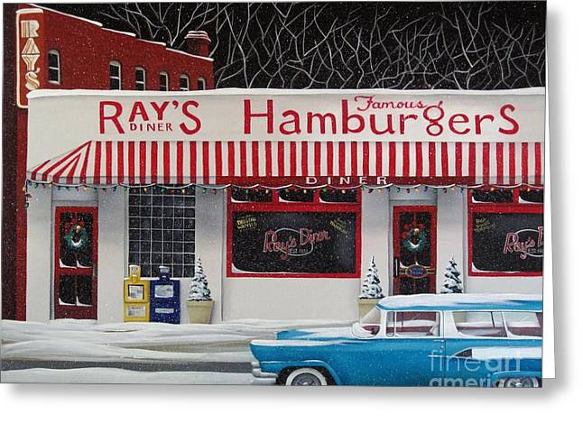 Station Wagon Greeting Cards - Christmas at Rays Diner Greeting Card by Catherine Holman