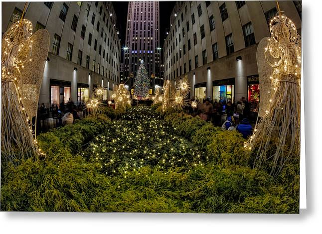 Prometheus Greeting Cards - Christmas At Rockefeller Center  NYC Greeting Card by Susan Candelario