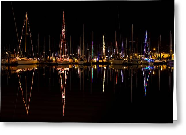 Christmas At Santa Cruz Harbor Greeting Card by Loree Johnson