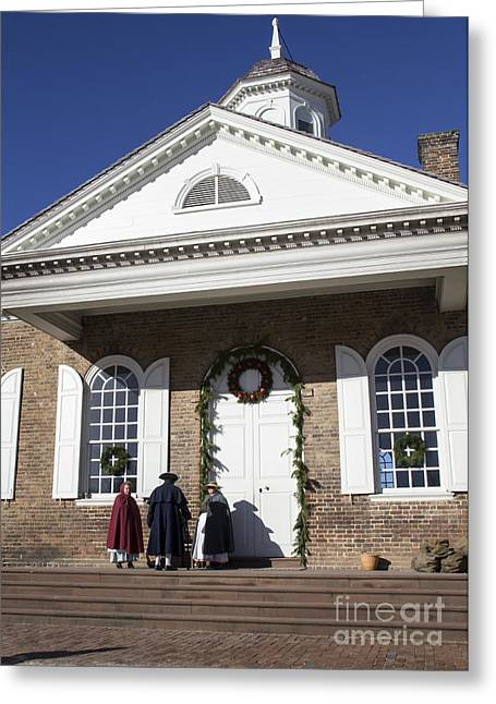 Colonial Actors Greeting Cards - Christmas at the Courthouse Greeting Card by Teresa Mucha