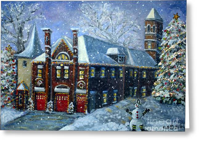Waltham Firehouse Greeting Cards - Christmas at the Fire House Greeting Card by Rita Brown