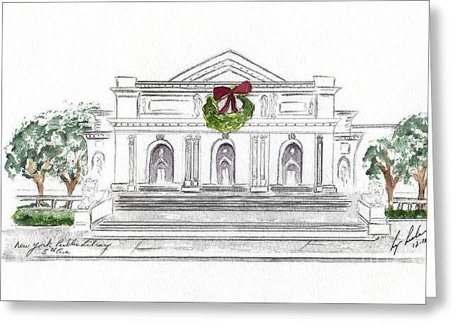 Christmas At The New York Public Library Greeting Card by AFineLyne