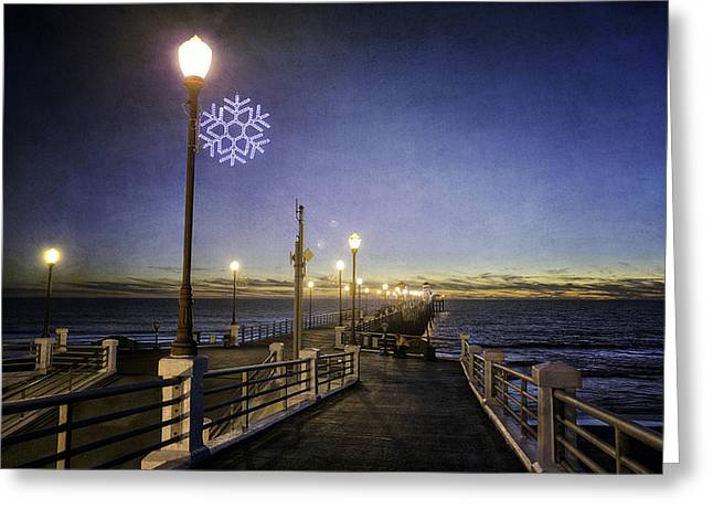 Ann Patterson Greeting Cards - Christmas at the Pier Greeting Card by Ann Patterson