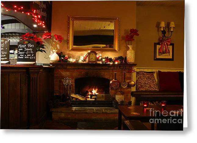 Christmas Eve Greeting Cards - Christmas at the Pub Greeting Card by Terri  Waters