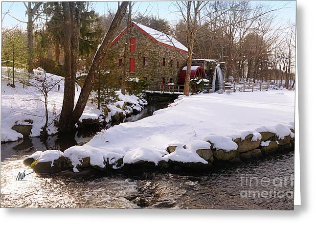 Sudbury River. Greeting Cards - Christmas at the Sudbury Grist Mill - Greeting Card Greeting Card by Mark Valentine