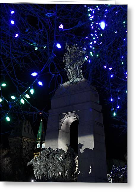 Winter Night Greeting Cards - Christmas at the War Memorial Greeting Card by Joshua McCullough