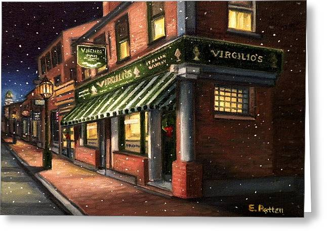 Recently Sold -  - Grocery Store Greeting Cards - Christmas At Virgilios Greeting Card by Eileen Patten Oliver