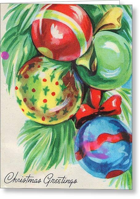 Cards Vintage Greeting Cards - Christmas Balls Greeting Card by Munir Alawi