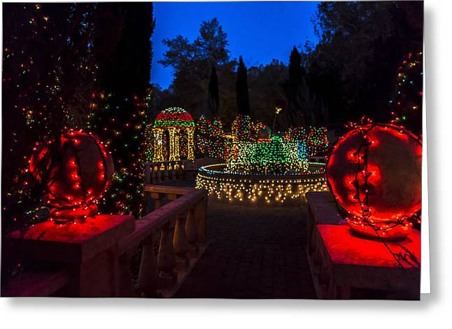 Glow Greeting Cards - Christmas Balls Greeting Card by Scott Campbell