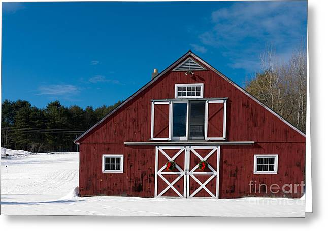 Christmas Barn Greeting Card by Edward Fielding