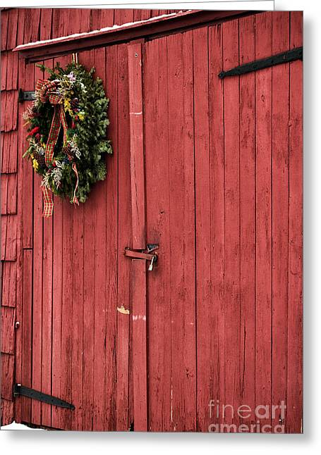 East Jersey Olde Towne Village Greeting Cards - Christmas Barn Greeting Card by John Rizzuto