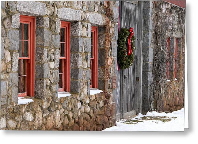 Old Maine Barns Greeting Cards - Christmas Barn Greeting Card by Karin Pinkham