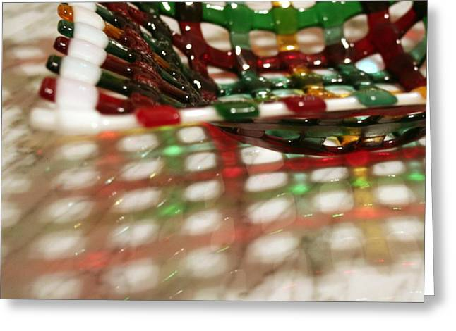 Christmas Glass Art Greeting Cards - Christmas Basketweave bowl Greeting Card by Marsha Painter