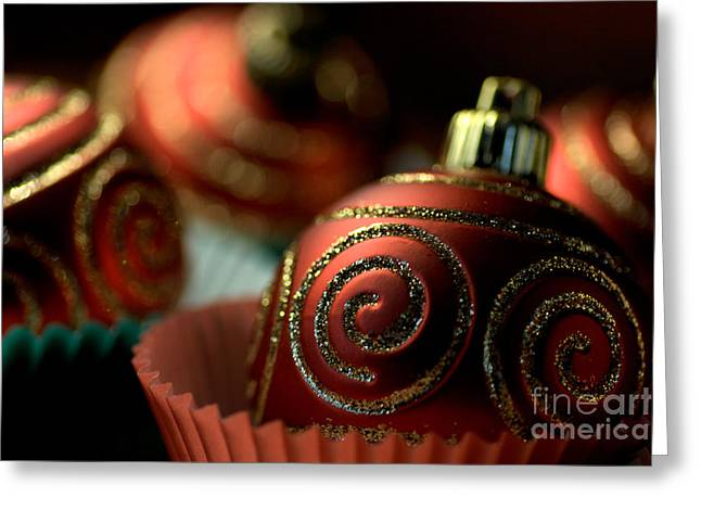 Joy Watson Greeting Cards - Christmas Bauble Cupcakes Greeting Card by Joy Watson