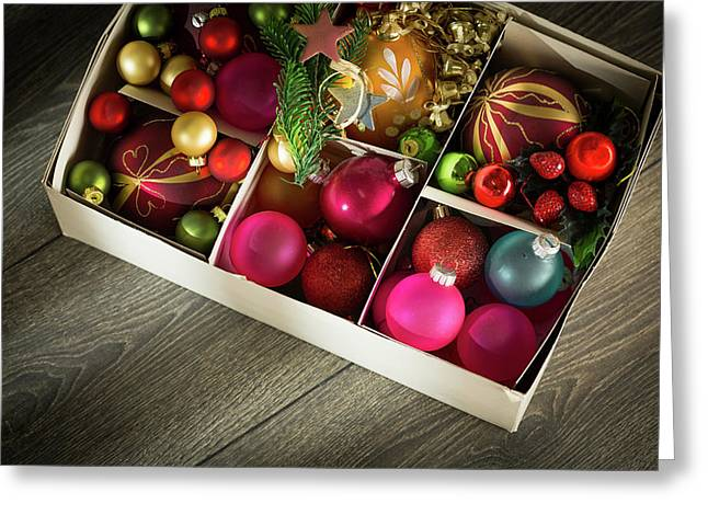 Christmas Baubles In A Box Greeting Card by Wladimir Bulgar