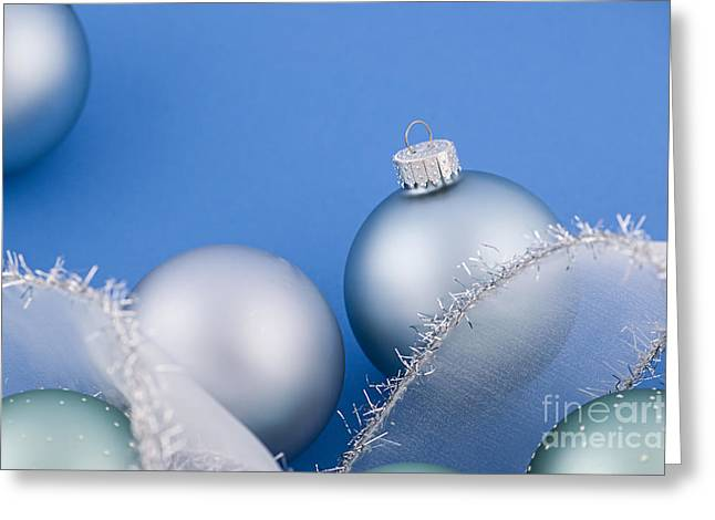Decorate Greeting Cards - Christmas baubles on blue Greeting Card by Elena Elisseeva