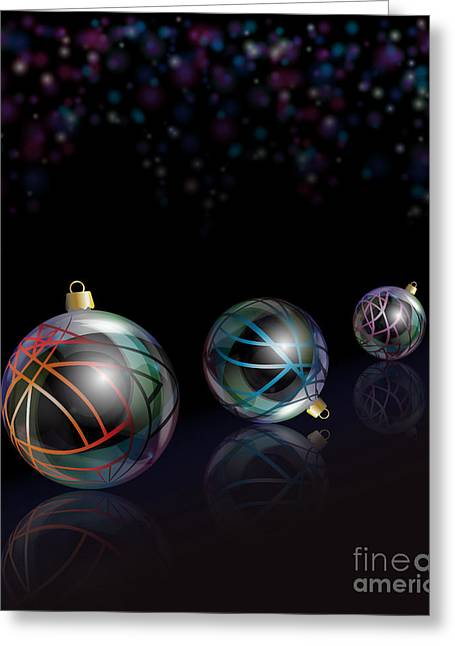 Glass Reflecting Greeting Cards - Christmas baubles reflected Greeting Card by Jane Rix