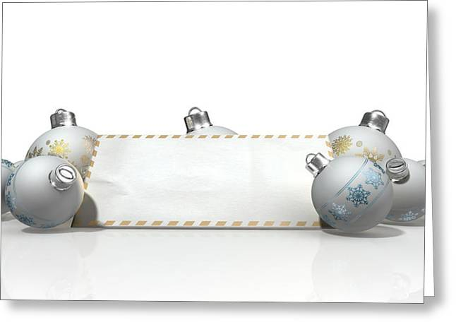 Blank Greeting Cards Greeting Cards - Christmas Baubles With Seasons Greetings Greeting Card by Allan Swart