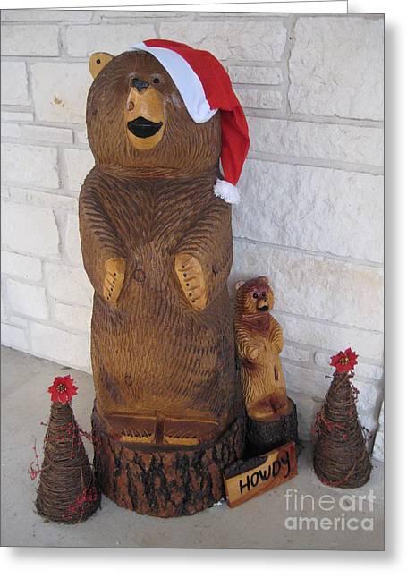 Ma Pyrography Greeting Cards - Christmas Bears Greeting Card by CA Zajicek