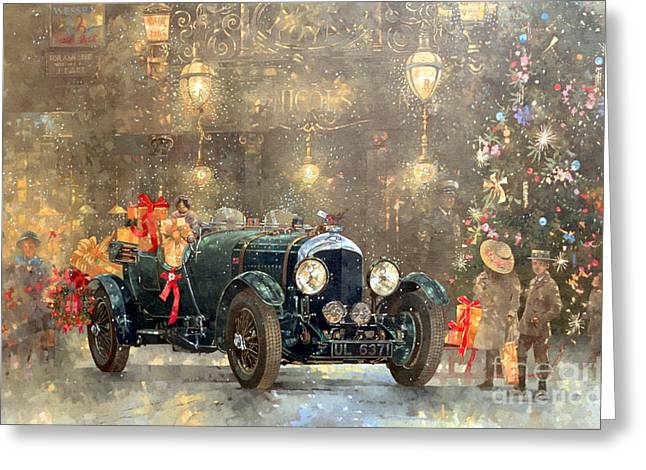 Winter Fun Paintings Greeting Cards - Christmas Bentley Greeting Card by Peter Miller