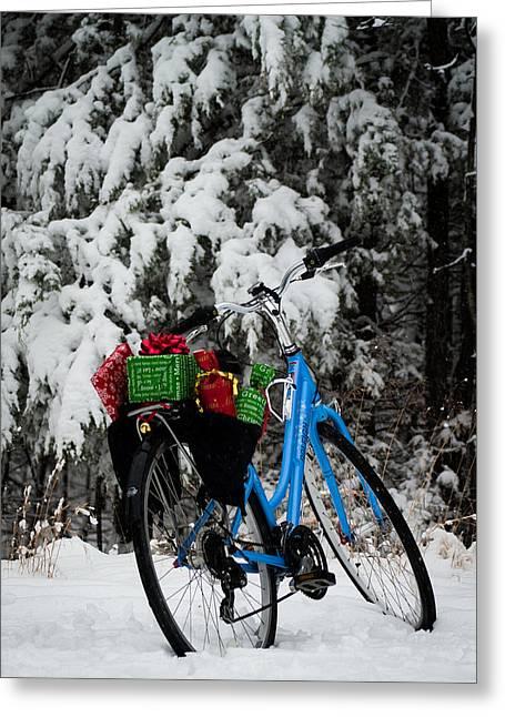 Christmas Bike Greeting Card by Wayne Meyer