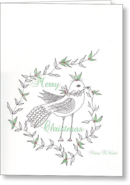 Wishes Drawings Greeting Cards - Christmas Bird Greeting Card by Nancy TeWinkel Lauren