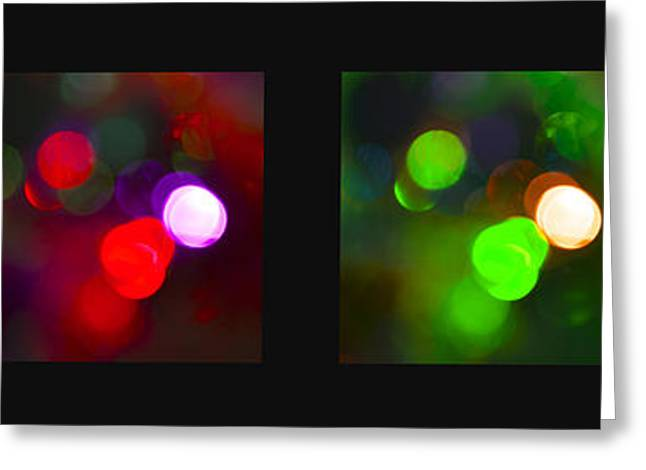 Twinkle Greeting Cards - Christmas Bokeh Panel Greeting Card by Michelle Orai