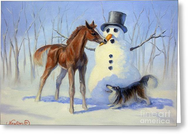 Snowman Greeting Cards - Christmas Bounty Greeting Card by Jeanne Newton Schoborg