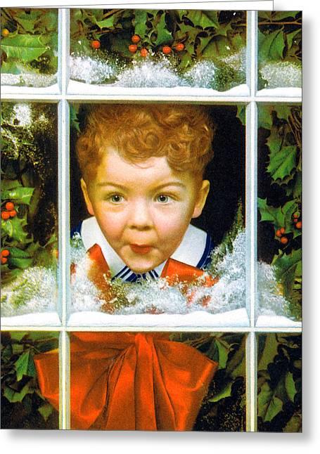 Christmas Greeting Greeting Cards - Christmas Boy Greeting Card by Munir Alawi