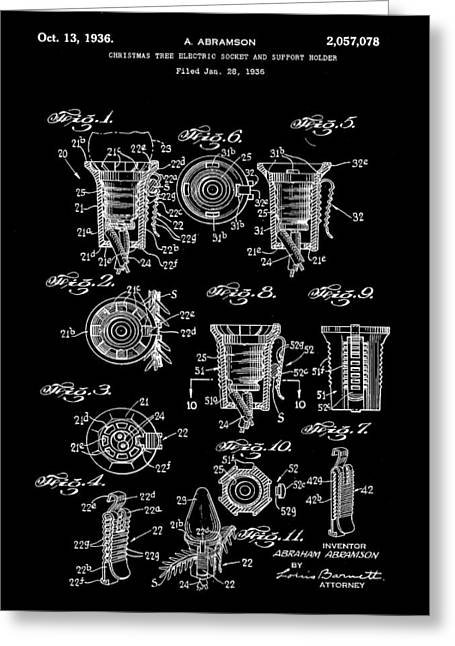 Rudolph Digital Art Greeting Cards - Christmas Bulb Socket Patent 1936 - Black Greeting Card by Stephen Younts