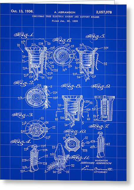 Rudolph Digital Art Greeting Cards - Christmas Bulb Socket Patent 1936 - Blue Greeting Card by Stephen Younts